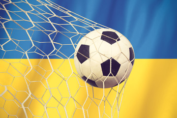 Soccer Background with Ukraine Flag vintage color