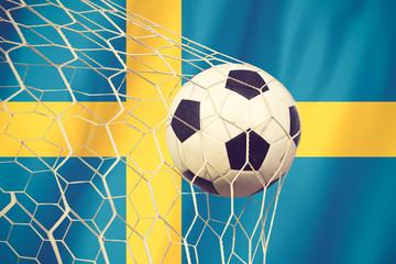 Sweden soccer ball vintage color