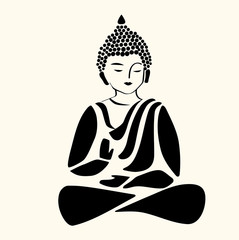 Buddha icon, symbol of yoga and meditation. Vector.