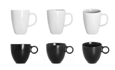 white cup isolated on white background, black cups isolated on a white background, a set of cups