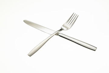 Stainless fork and knife