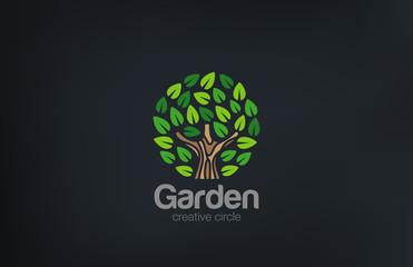 Abstract Green Tree Logo Circle shape design vector template. ..