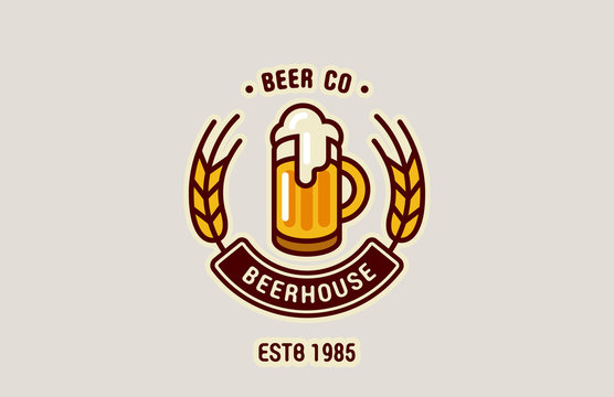 Beer Mug Logo abstract design vintage vector template...Brewery,