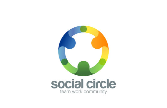 Social Team work Logo design vector template with abstract chara
