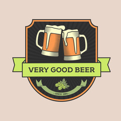 """Vintage vector illustration, concept or logo pub, beer. Two glasses of beer and the caption """"Very good beer"""". Can be used to design bar, pub, posters, flyers, decorating windows, printing on T-shirts."""