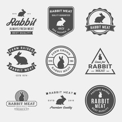 vector set of premium rabbit meat labels, badges and design elem