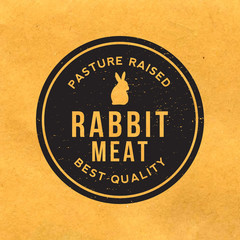 premium rabbit meat label with grunge texture on old paper backg