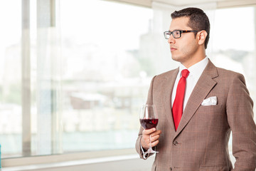 Handsome successful young man has a business meeting