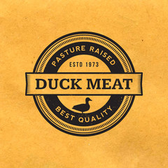premium duck meat label with grunge texture on old paper backgro