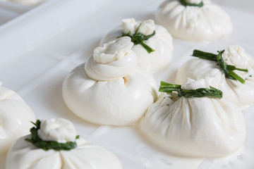 burrata cheese on a production