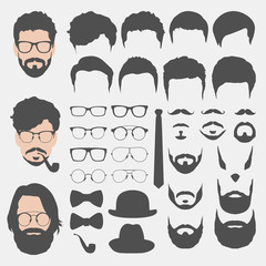 different hipster style haircuts, glasses, beard, mustache, bowt