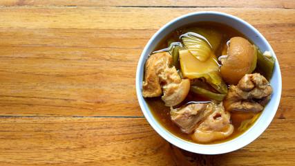 Thai food on wooden table