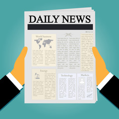 businessman holding newspaper in flat style, vector