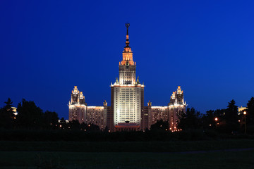 Moscow State University named after Lomonosov at night, main building, Russia