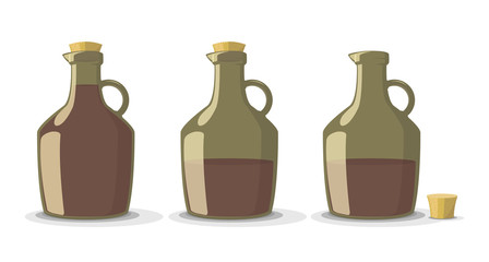 Vector set of wine bottles