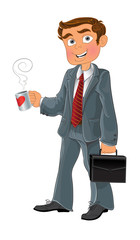 businessman with cup and brief case