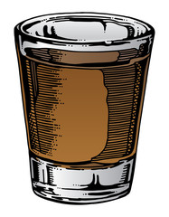 Shot Glass Hand Drawn is an illustration of a shot glass with whiskey or other alcohol.