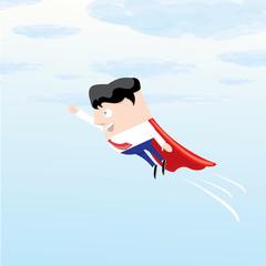 business man flying. vector illustration.