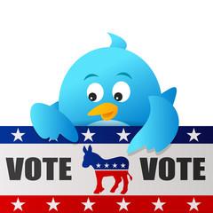 Blue Bird Vote for Democrat sign on white background