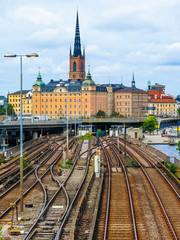Stockholm, Sweden. View of the Old Town (Gamla Stan) and railway bridge