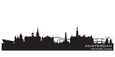 Amsterdam Netherlands city skyline vector silhouette