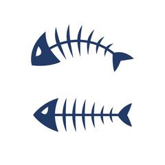 Fish bone skeleton vector icon logo design.