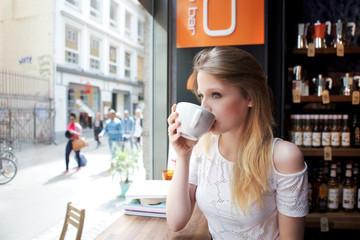 woman drink a coffee in Copenhagen