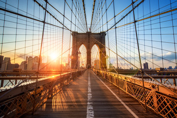 Zelfklevend Fotobehang Brug Brooklyn Bridge in New York City USA