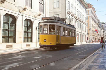 Traditional yellow trams