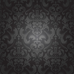 Dark damask seamless floral pattern.