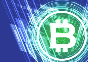 Vector background shining symbol bitcoin