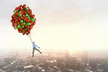 Man flying in sky