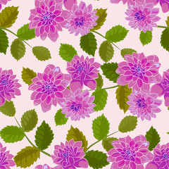 Seamless floral pattern with dahlias