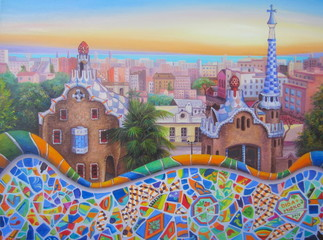 Original oil painting of Barcelona 2