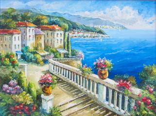 Original oil painting The Greece beach