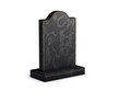 Black marbel gravestone on white background