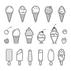 Vector icon set of yummy ice cream
