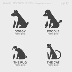 Home pets Animals Logos negative space style design vector templ