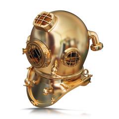 illustration of a golden diving helmet