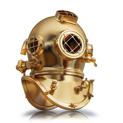 illustration of a golden diving helmet