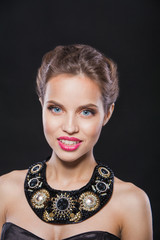 portrait of a beautiful smiling fashion model with gorgeous