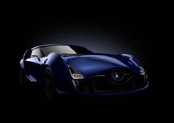 Blue sports car isolated on black background.