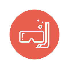 Mask and snorkel thin line icon