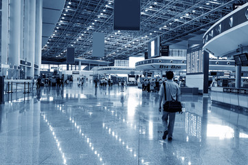 Modern Architecture of shanghai airport,passenger in the airport.interior of the airport
