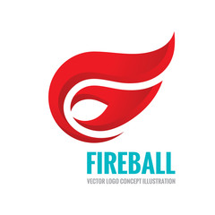 Fireball - vector logo concept illustration. Fire logo sign. Flame logo sign. Vector logo template. Design element.