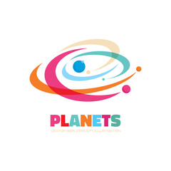 Planets - vector logo concept. Abstract planets illustration. Solar system concept illustration. Galaxy sign. Vector logo template. Design element.