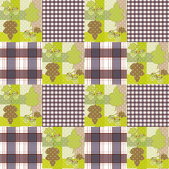 Patchwork seamless pattern ornament striped autumn background