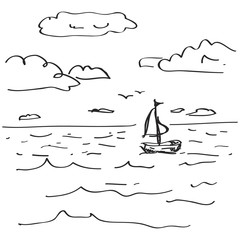 Simple doodle of a sailboat