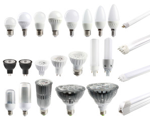 A large set of LED bulbs isolated on white background..