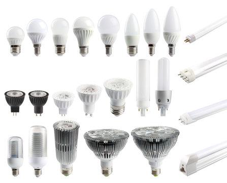 A large set of LED bulbs isolated on white background..